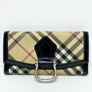 Authentic Burberry Nova Check D-Ring Long Wallet